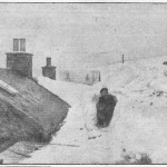 The height of drifts in Shetland are shown by this photograph, taken yesterday of John Henderson (13) and his dog behing the boy's home at Yanlop.  [The Glasgow Herald.  Monday, January 26, 1959.]