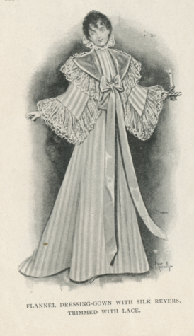 Flannel dressing-gown with silk revers, trimmed with lace