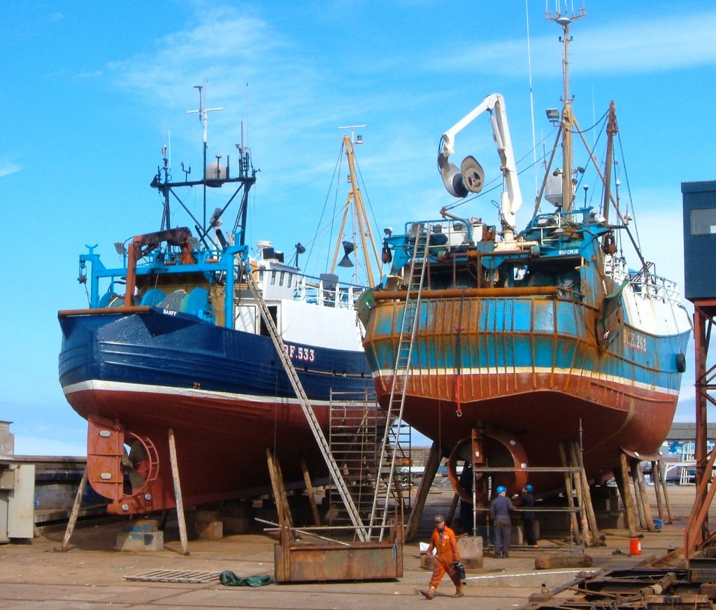 Modern fishing boats being repaired in Gamrie, Banffshire