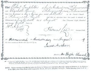 1878 Certificate of Banns for Robert Templeton and Elizabeth Young